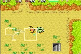 In game image of Pokemon Mystery Dungeon: Red Rescue Team on the Nintendo Game Boy Advance.