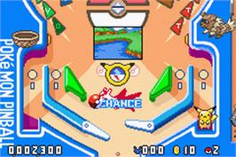 In game image of Pokemon Pinball: Ruby & Sapphire on the Nintendo Game Boy Advance.