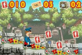 In game image of Postman Pat and the Greendale Rocket on the Nintendo Game Boy Advance.