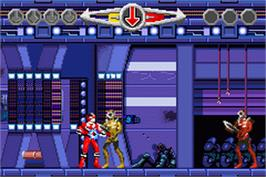 In game image of Power Rangers: Time Force on the Nintendo Game Boy Advance.