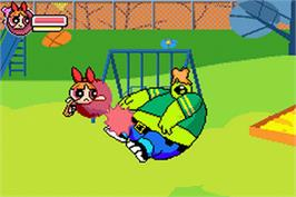 In game image of Powerpuff Girls: Him and Seek on the Nintendo Game Boy Advance.
