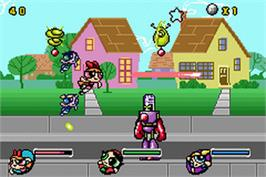 In game image of Powerpuff Girls: Mojo Jojo A-Go-Go on the Nintendo Game Boy Advance.