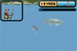 In game image of Rapala Pro Fishing on the Nintendo Game Boy Advance.