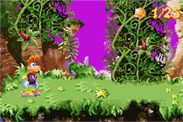 In game image of Rayman 3: Hoodlum Havoc on the Nintendo Game Boy Advance.