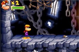In game image of Rayman Raving Rabbids on the Nintendo Game Boy Advance.