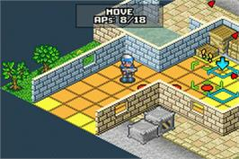 In game image of Rebelstar: Tactical Command on the Nintendo Game Boy Advance.