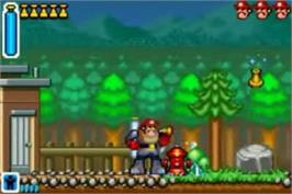 In game image of Rescue Heroes: Billy Blazes on the Nintendo Game Boy Advance.
