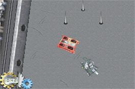 In game image of Robot Wars: Advanced Destruction on the Nintendo Game Boy Advance.