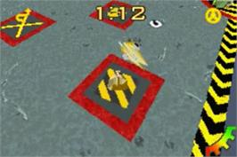 In game image of Robot Wars 2: Extreme Destruction on the Nintendo Game Boy Advance.