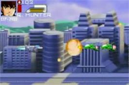 In game image of Robotech: The Macross Saga on the Nintendo Game Boy Advance.
