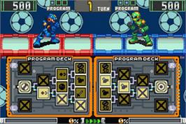 In game image of Rockman EXE 4.5 Real Operation Battle Chip Gate Pack on the Nintendo Game Boy Advance.