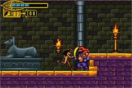 In game image of Scorpion King: Sword of Osiris on the Nintendo Game Boy Advance.