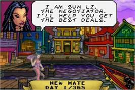 In game image of Sea Trader: Rise of Taipan on the Nintendo Game Boy Advance.