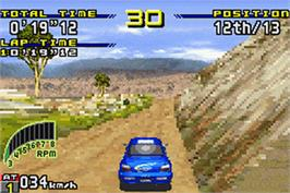 In game image of Sega Rally Championship on the Nintendo Game Boy Advance.