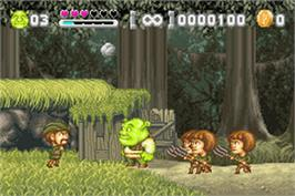 In game image of Shrek: Hassle at the Castle on the Nintendo Game Boy Advance.