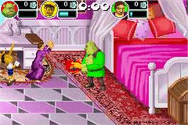 In game image of Shrek SuperSlam on the Nintendo Game Boy Advance.