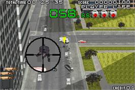 In game image of Silent Scope on the Nintendo Game Boy Advance.