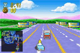 In game image of Simpsons: Road Rage on the Nintendo Game Boy Advance.