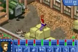 In game image of Sims: Bustin' Out on the Nintendo Game Boy Advance.