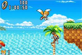 In game image of Sonic Advance on the Nintendo Game Boy Advance.