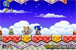 In game image of Sonic Advance 3 on the Nintendo Game Boy Advance.