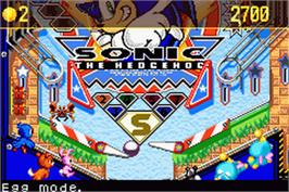 In game image of Sonic Pinball Party on the Nintendo Game Boy Advance.