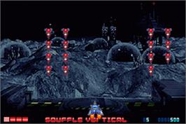 In game image of Space Invaders on the Nintendo Game Boy Advance.