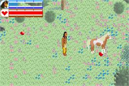 In game image of Spirit: Stallion of the Cimarron on the Nintendo Game Boy Advance.