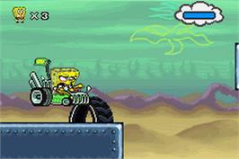 In game image of SpongeBob SquarePants: Creature from the Krusty Krab on the Nintendo Game Boy Advance.