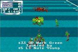In game image of Sports Illustrated for Kids: Football on the Nintendo Game Boy Advance.