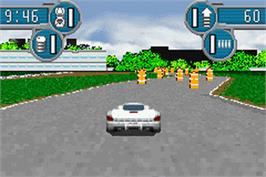 In game image of Spy Hunter / Super Sprint on the Nintendo Game Boy Advance.