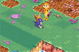 In game image of Spyro 2: Season of Flame on the Nintendo Game Boy Advance.