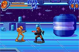 In game image of Star Wars: Episode III - Revenge of the Sith on the Nintendo Game Boy Advance.