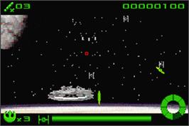 In game image of Star Wars: Flight of the Falcon on the Nintendo Game Boy Advance.
