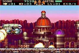 In game image of Steel Empire on the Nintendo Game Boy Advance.