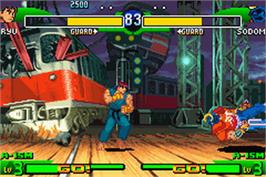 In game image of Street Fighter Alpha 3 on the Nintendo Game Boy Advance.
