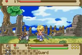 In game image of Summon Night: Swordcraft Story 2 on the Nintendo Game Boy Advance.