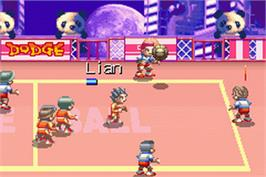 In game image of Super Dodge Ball Advance on the Nintendo Game Boy Advance.