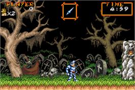 In game image of Super Ghouls 'N Ghosts on the Nintendo Game Boy Advance.