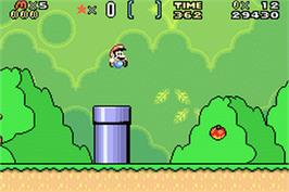 In game image of Super Mario World: Super Mario Advance 2 on the Nintendo Game Boy Advance.
