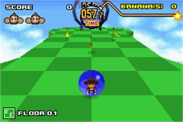 In game image of Super Monkey Ball Jr. on the Nintendo Game Boy Advance.