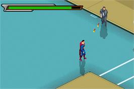 In game image of Superman: Countdown to Apokolips on the Nintendo Game Boy Advance.