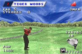 In game image of Tiger Woods PGA Tour Golf on the Nintendo Game Boy Advance.