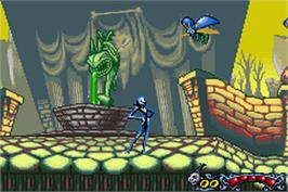 In game image of Tim Burton's The Nightmare Before Christmas: The Pumpkin King on the Nintendo Game Boy Advance.
