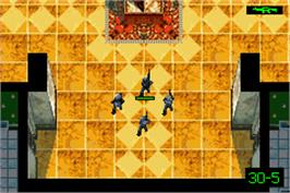In game image of Tom Clancy's Rainbow Six: Rogue Spear on the Nintendo Game Boy Advance.