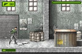 In game image of Tom Clancy's Splinter Cell on the Nintendo Game Boy Advance.