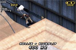 In game image of Tony Hawk's Pro Skater 2 on the Nintendo Game Boy Advance.