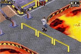 In game image of Tony Hawk's Pro Skater 3 on the Nintendo Game Boy Advance.