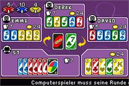 In game image of Uno 52 on the Nintendo Game Boy Advance.