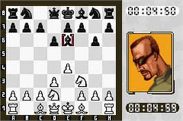 In game image of Virtual Kasparov on the Nintendo Game Boy Advance.